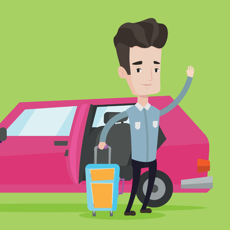 open car door: Caucasian man with suitcase standing on the background of open car door. Man traveling by car. Man waving in front of car. Man going to vacation by car. Vector flat design illustration. Square layout. Illustration