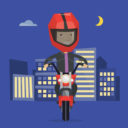 city man: Young man in helmet riding a motorcycle on the background of night city. Man driving a motorbike on a city road. Happy man riding a motorcycle at night. Vector flat design illustration. Square layout.