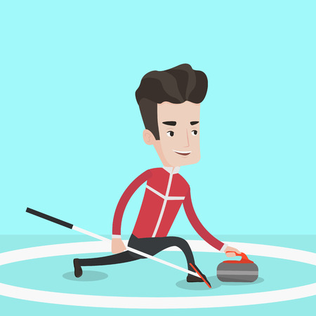 sliding: Curling player playing curling on a curling rink. Sportsman with stone and broom. Curling player delivering a stone. Curling player sliding over the ice. Vector flat design illustration. Square layout