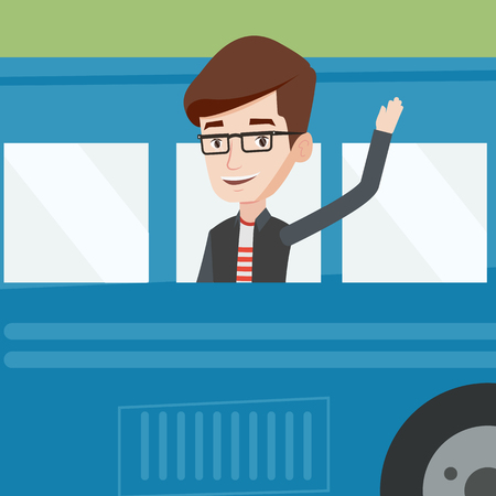 1 person: Caucasian man enjoying his trip by bus. Man waving from bus. Passenger waving hand from bus window. Tourist peeking out of bus window and waving hand. Vector flat design illustration. Square layout.