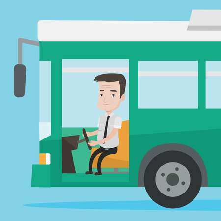 Caucasian bus driver sitting at steering wheel. Bus driver driving passenger bus. Bus driver driving intercity bus. Bus driver in drivers seat in cab. Vector flat design illustration. Square layout.