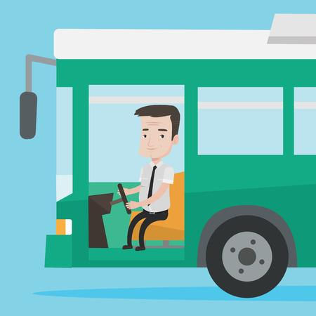 conductor del autobús caucásica que se sienta en el volante. conductor del autobús de pasajeros de conducción de autobuses. conductor del autobús de conducción de autobuses interurbanos. conductor del autobús en el asiento del conductor en la cabina. Vector de diseño plano ilustración. de planta cuadrada.