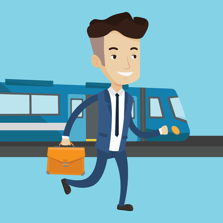 going out: Young caucasian businessman walking on the train platform on the background of train. Man going out of train. Happy businessman at the train station. Vector flat design illustration. Square layout. Illustration