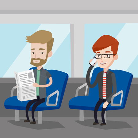 people traveling: Man using mobile phone while traveling by public transport. Caucasian man reading newspaper in public transport. People traveling by public transport. Vector flat design illustration. Square layout. Illustration