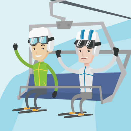 Two happy men sitting on ski elevator in winter mountains. Skiers using cableway at ski resort. Skiers on cableway in mountains at winter sport resort. Vector flat design illustration. Square layout.