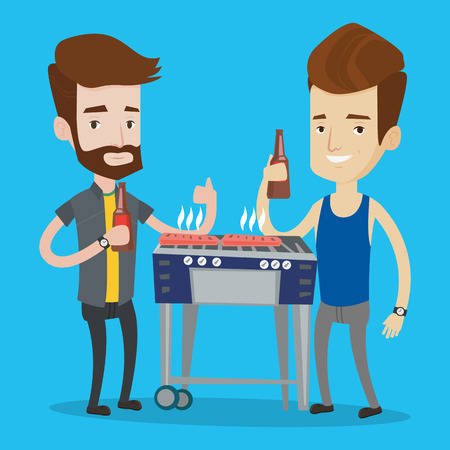 caucasians: Friends preparing barbecue and drinking beer. Group of friends having fun at a barbecue party. Smiling caucasian male friends having a barbecue party. Vector flat design illustration. Square layout.