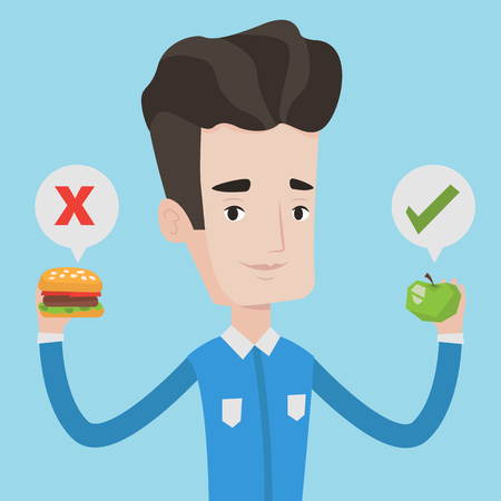 choosing: Young caucasian man holding apple and hamburger in hands. Man choosing between apple and hamburger. Man choosing between healthy and unhealthy nutrition. Vector flat design illustration. Square layout
