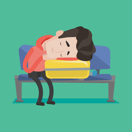 Tired caucasian passenger sleeping on luggage in airport. Exhausted man sleeping on suitcase at airport. Man waiting for flight and sleeping on suitcase. Vector flat design illustration. Square layout Ilustrace