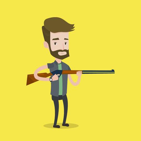 huntsman: Caucasian man shooting skeet with shotgun. Hunter ready to hunt with hunting rifle. Hipster man aiming with a hunter gun. Hunter holding a long rifle. Vector flat design illustration. Square layout.