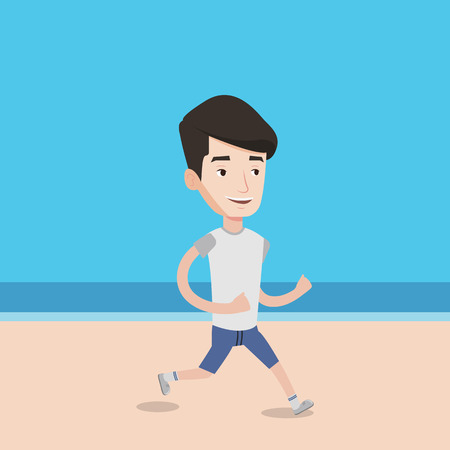 Caucasian man jogging on the beach. Sporty male athlete running on the beach. Young man running along the seashore. Fit man enjoying jogging on beach. Vector flat design illustration. Square layout. Illustration
