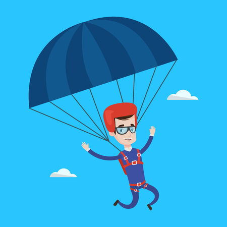 descending: Caucasian man flying with a parachute. Young happy man paragliding on a parachute. Professional parachutist descending with a parachute in a blue sky. Vector flat design illustration. Square layout. Illustration