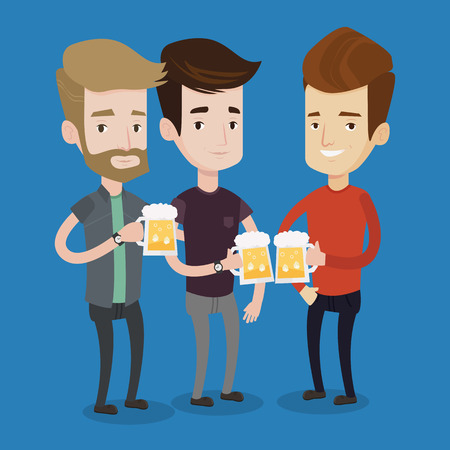caucasian men: Beer fans toasting and clinking glasses of beer. Caucasian men clanging glasses of beer. Group of friends enjoying a beer at pub. Men drinking beer. Vector flat design illustration. Square layout. Illustration