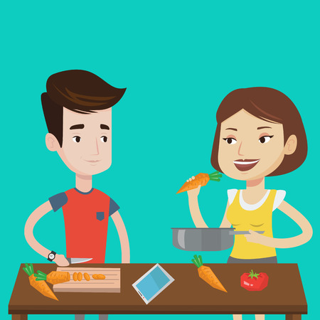 couple having fun: Couple having fun cooking together fresh healthy vegetables. Young couple preparing vegetable meal. Caucasian couple cooking healthy vegetable meal. Vector flat design illustration. Square layout.