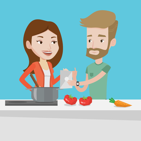 couple having fun: Young caucasian couple following recipe for healthy vegetable meal on digital tablet. Couple cooking healthy meal. Couple having fun cooking together. Vector flat design illustration. Square layout. Illustration