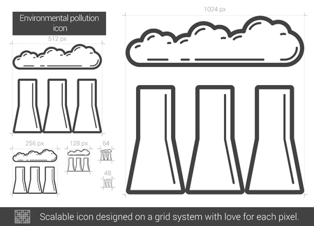distill: Environmental pollution vector line icon isolated on white background. Environmental pollution line icon for infographic, website or app. Scalable icon designed on a grid system.