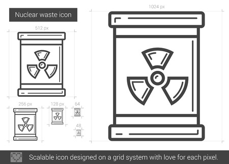 radioactive tank and warning sign: Nuclear waste vector line icon isolated on white background. Nuclear waste line icon for infographic, website or app. Scalable icon designed on a grid system.