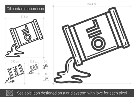 fossil fuel: Oil contamination vector line icon isolated on white background. Oil contamination line icon for infographic, website or app. Scalable icon designed on a grid system.