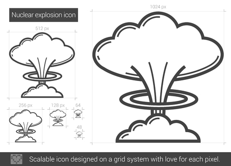 toxic accident: Nuclear explosion vector line icon isolated on white background. Nuclear explosion line icon for infographic, website or app. Scalable icon designed on a grid system.