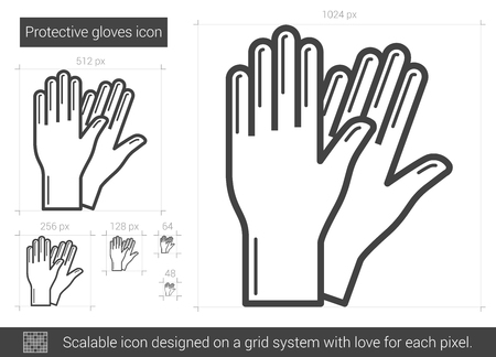 doctor gloves: Protective gloves vector line icon isolated on white background. Protective gloves line icon for infographic, website or app. Scalable icon designed on a grid system. Illustration