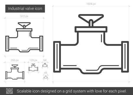 흰색 배경에 고립 된 산업용 밸브 벡터 라인 아이콘. 인포 그래픽, 웹 사이트 또는 앱용 산업용 밸브 아이콘 그리드 시스템에서 설계된 확장 가능한 아이콘. 스톡 콘텐츠 - 64925989
