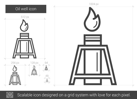 pozo petrolero: Oil well vector line icon isolated on white background. Oil well line icon for infographic, website or app. Scalable icon designed on a grid system.