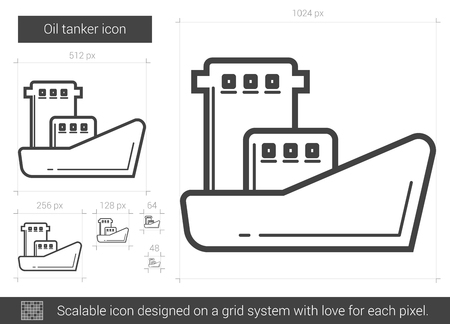 Oil tanker vector line icon isolated on white background. Oil tanker line icon for infographic, website or app. Scalable icon designed on a grid system.