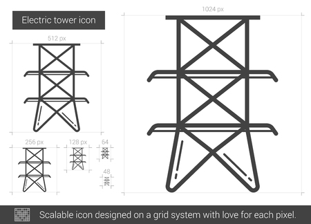 electric grid: Electric tower vector line icon isolated on white background. Electric tower line icon for infographic, website or app. Scalable icon designed on a grid system.