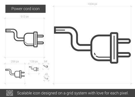 power grid: Power cord vector line icon isolated on white background. Power cord line icon for infographic, website or app. Scalable icon designed on a grid system.