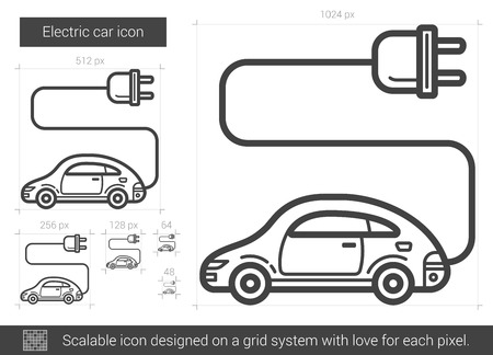 electric grid: Electric car vector line icon isolated on white background. Electric car line icon for infographic, website or app. Scalable icon designed on a grid system.