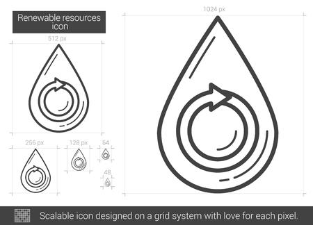 renewable resources: Renewable resources vector line icon isolated on white background. Renewable resources line icon for infographic, website or app. Scalable icon designed on a grid system.