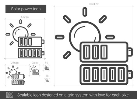 power grid: Solar power vector line icon isolated on white background. Solar power line icon for infographic, website or app. Scalable icon designed on a grid system.