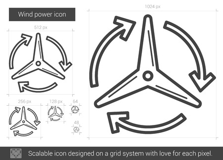 power grid: Wind power vector line icon isolated on white background. Wind power line icon for infographic, website or app. Scalable icon designed on a grid system.
