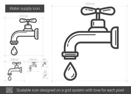 물 공급 벡터 라인 아이콘 흰색 배경에 고립입니다. 인포 그래픽, 웹 사이트 또는 앱에 대한 물 공급 라인 아이콘입니다. 그리드 시스템 설계 확장 아이콘입니다. 스톡 콘텐츠 - 64935702