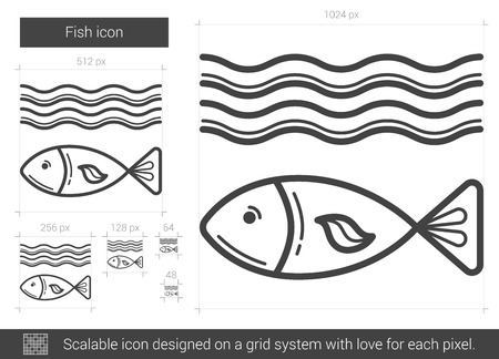 ecological damage: Fish vector line icon isolated on white background. Fish line icon for infographic, website or app. Scalable icon designed on a grid system.
