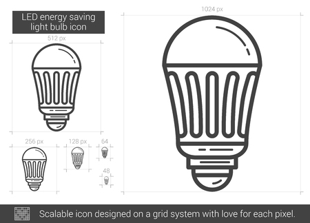 bombillo ahorrador: LED energy saving light bulb vector line icon isolated on white background. LED energy saving light bulb line icon for infographic, website or app. Scalable icon designed on a grid system.