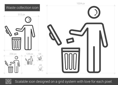 scalable: Waste collection vector line icon isolated on white background. Waste collection line icon for infographic, website or app. Scalable icon designed on a grid system. Illustration