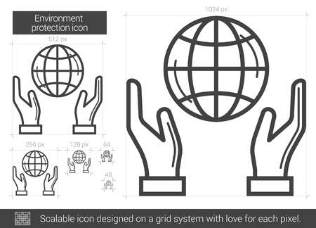 protection line: Environment protection vector line icon isolated on white background. Environment protection line icon for infographic, website or app. Scalable icon designed on a grid system. Illustration