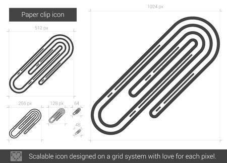 Paper clip vector line icon isolated on white background. Paper clip line icon for infographic, website or app. Scalable icon designed on a grid system.