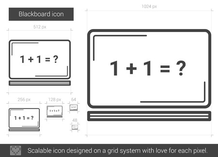 Blackboard vector line icon isolated on white background. Blackboard line icon for infographic, website or app. Scalable icon designed on a grid system.