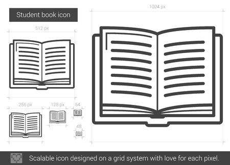 classbook: Student book vector line icon isolated on white background. Student book line icon for infographic, website or app. Scalable icon designed on a grid system.