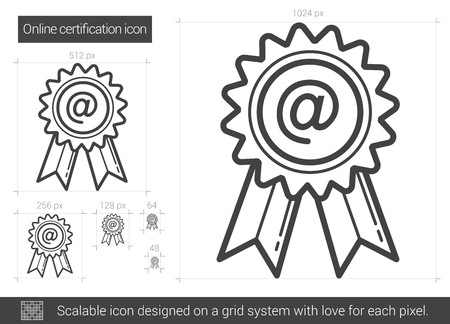 online degree: Online certification vector line icon isolated on white background. Online certification line icon for infographic, website or app. Scalable icon designed on a grid system.