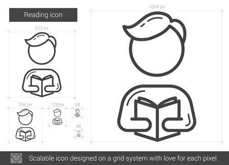 reading app: Reading vector line icon isolated on white background. Reading line icon for infographic, website or app. Scalable icon designed on a grid system.