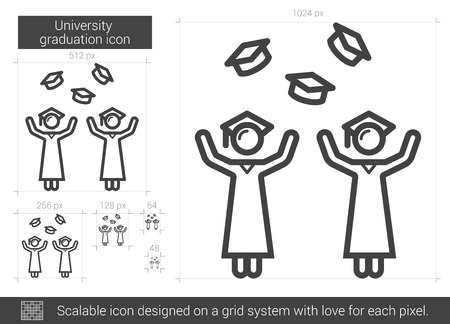 University graduation vector line icon isolated on white background. University graduation line icon for infographic, website or app. Scalable icon designed on a grid system. Ilustração