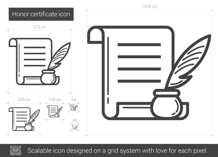 Honor certificate vector line icon isolated on white background. Honor certificate line icon for infographic, website or app. Scalable icon designed on a grid system. Çizim