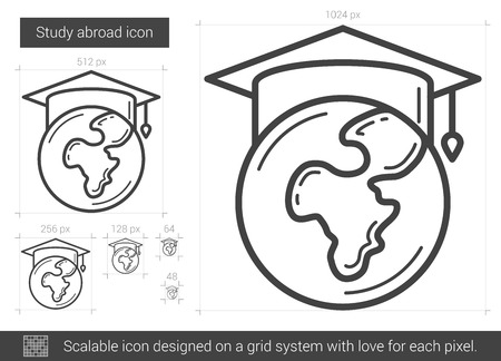 Study abroad vector line icon isolated on white background. Study abroad line icon for infographic, website or app. Scalable icon designed on a grid system. Ilustração