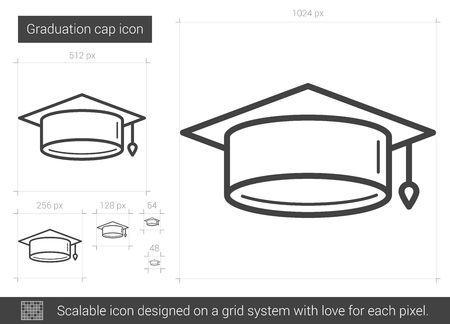 Graduation cap vector line icon isolated on white background. Graduation cap line icon for infographic, website or app. Scalable icon designed on a grid system. Ilustração