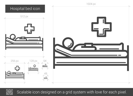 bedridden: Hospital bed vector line icon isolated on white background. Hospital bed line icon for infographic, website or app. Scalable icon designed on a grid system.