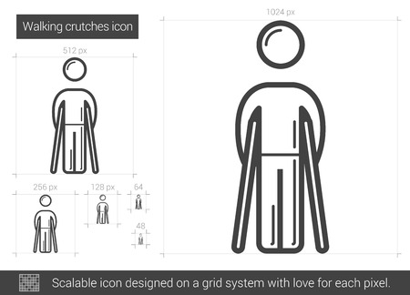 hobble: Walking crutches vector line icon isolated on white background. Walking crutches line icon for infographic, website or app. Scalable icon designed on a grid system.