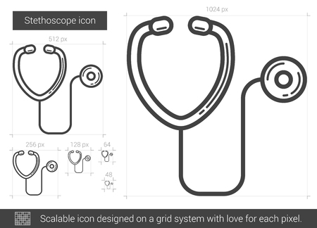 Stethoscope vector line icon isolated on white background. Stethoscope line icon for infographic, website or app. Scalable icon designed on a grid system. Ilustração