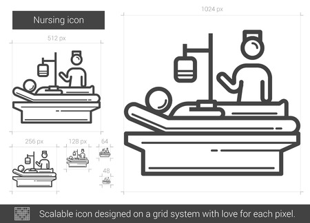 Nursing vector line icon isolated on white background. Nursing line icon for infographic, website or app. Scalable icon designed on a grid system. Illustration